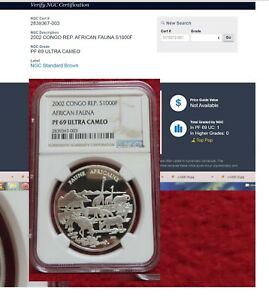 Click now to see the BUY IT NOW Price! 2002 CONGO SILVER AFRICAN FAUNA 2002 PF 69 ULTRA CAMEO NGC