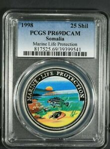 Click now to see the BUY IT NOW Price! 1998 PCGS PR69DCAM SOMALIA 25 SHILLINGS COLORIZED PROOF MARINE LIFE PROTECTION