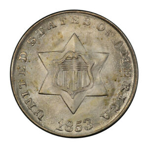 Click now to see the BUY IT NOW Price! 1853 3CS THREE CENT SILVER PCGS MS67 3047 1