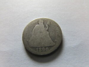 1890 SEATED LIBERTY SILVER DIME PHILADELPHIA MINT US SILVER 10 CENTS COIN 10C