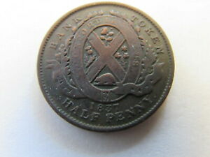 1837 CANADA HALF PENNY BANK TOKEN LARGE CENT CANADIAN COIN KM TN6