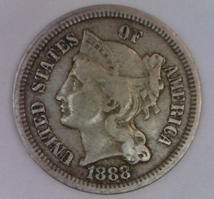1888 THREE CENT PIECE NICKEL NICE KEY DATE UNITED STATES TYPE COIN 3 C.