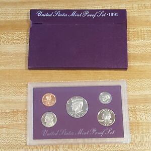 1991 UNITED STATES MINT PROOF SET COIN PURPLE COLLECTORS NUMISMATIC BOX
