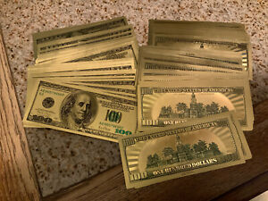 REAL 24K .999 GOLD FOIL 100.00  DOLLAR BILL BANK NOTE MARKED AS REQUIRED BY LAW.