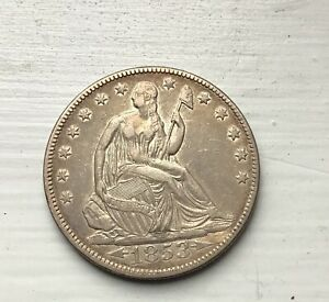 1853 ARROWS AND RAYS SEATED LIBERTY HALF DOLLAR AU NICE LUSTER GREAT TYPE COIN
