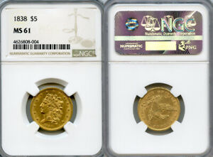 1838 $5 GOLD COIN NGC MS61