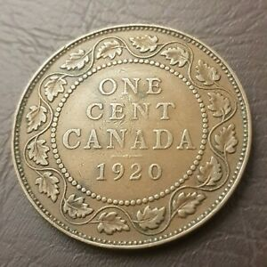 CANADA 1 CENT 1920 GEORGE V LARGE CENT COPPER PENNY COIN