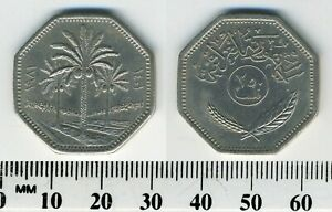 IRAQ 1981  1401    250 FILS COPPER NICKEL COIN   PALM TREES DIVIDE DATES