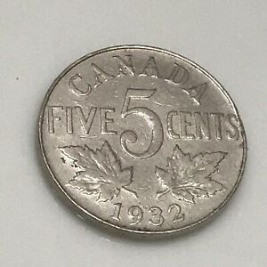 1932 CANADIAN 5 CENT FEATURING KING GEORGE V.