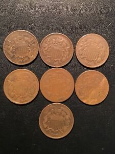 TWO CENT PIECE LOT 6 COINS FINE XF 1864 1865 1866 1867 1868 1869 NICE ORIGINAL