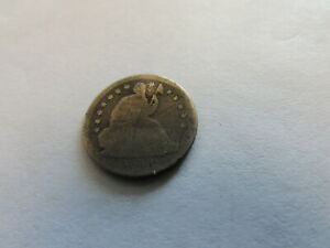 1839 SEATED LIBERTY HALF DIME PHILADELPHIA MINT SILVER COIN 5 CENTS 5C BENT