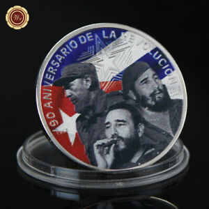 WR FIDEL CASTRO COLORED 999 SILVER COMMEMORATIVE COIN COLLECTOR HOLIDAY GIFTS