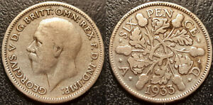 UK   GEORGE V   6 PENCE SILVER 1933  KM 832