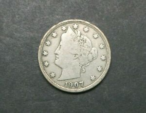 1907 WITH CENTS LIBERTY V NICKEL US COIN M1209