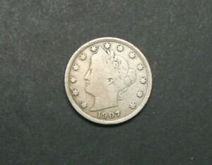 1907 WITH CENTS LIBERTY V NICKEL US COIN M1212