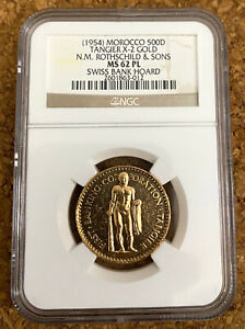 Click now to see the BUY IT NOW Price! 1954 MOROCCO 500 DIRHAMS TANGIER X 2 GOLD . N.M. ROTHSCHILD & SONS. NGC MS 62PL.