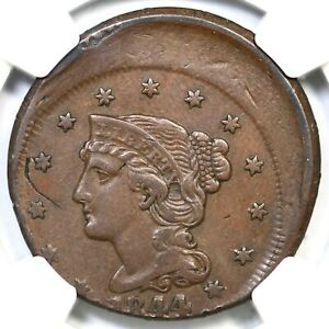 Click now to see the BUY IT NOW Price! 1844 NGC XF DETAILS OFF CENTER BRAIDED HAIR LARGE CENT COIN 1C