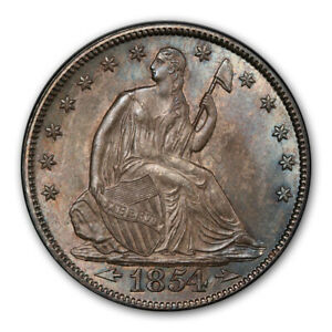 Click now to see the BUY IT NOW Price! 1854 50C ARROWS LIBERTY SEATED HALF DOLLAR PCGS MS65   CAC
