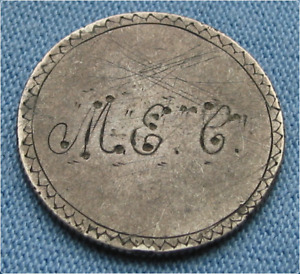 1858 SEATED LIBERTY QUARTER LOVE TOKEN W/ INITIALS M. E. C.  25C