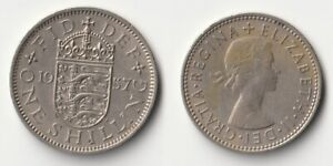 1957 GREAT BRITAIN 1 SHILLING COIN ENGLISH VERSION