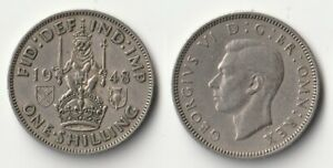 1948 GREAT BRITAIN 1 SHILLING COIN SCOTTISH VERSION