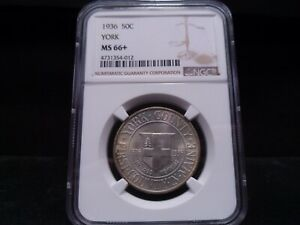 1936 MS66   PLUS  YORK SILVER COMMEMORATIVE NGC CERTIFIED SUPERB GEM   PQ