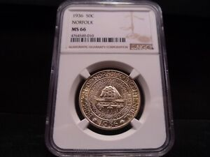 1936 MS66 NORFOLK SILVER COMMEMORATIVE NGC CERTIFIED SUPERB GEM   PQ