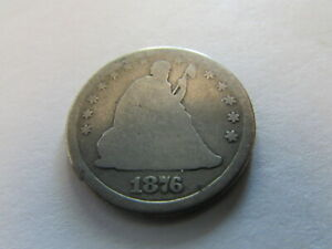 1876 SEATED LIBERTY SILVER QUARTER PHILADELPHIA MINT 25 CENTS COIN 25C