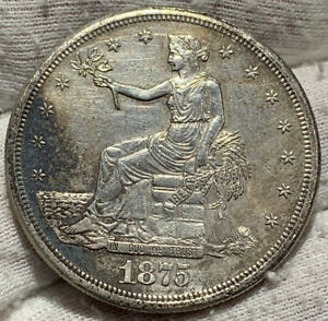 1875 S TRADE DOLLAR XF  DETAILS CLND    NICE DETAIL ON THIS COINS