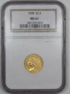 1908 $2.50 INDIAN HEAD GOLD   NGC MS 61