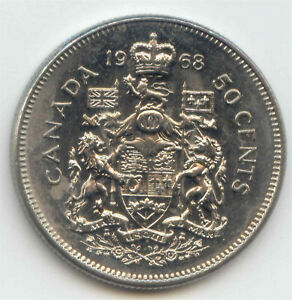 CANADA 1968 CANADIAN 50C NICKEL FIFTY CENT PIECE HALF DOLLAR 50 CENTS COIN