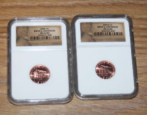 2009 P & D BIRTH & CHILDHOOD LINCOLN ONE CENTS TWO COIN SET   NGC MS66RD