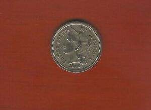 1881 U.S. THREE CENT NICKEL   FINE   FROM OLD ESTATE