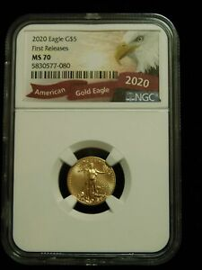 2020 1/10TH OZ GOLD HALF EAGLE   FIRST RELEASE NGC MS70
