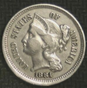 1881 THREE CENT NICKEL   FINE   23463