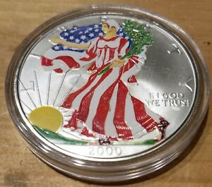 2000 AMERICAN SILVER EAGLE 1 OZ .999 SILVER COLORIZED AND IN COIN CAPSULE