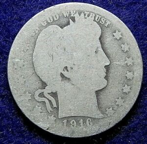 1916 D BARBER HEAD 90  SILVER QUARTER DOLLAR  COIN. 213