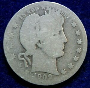 1909 S BARBER HEAD SILVER QUARTER DOLLAR  COIN. 208