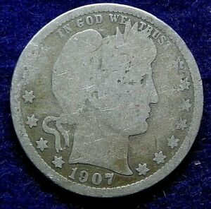 1907 D 25C BARBER SILVER QUARTER US COIN. 263