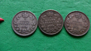 3 COINS CANADA 5 CENTS SILVER    1907    1910 HOLLEY LEAVES    1919  .925 SILVER