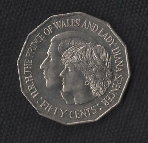 1981 50 CENT COIN   ROYAL WEDDING H.R.H PRINCE OF WALES & LADY DIANA  FREE POST