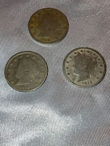 3 SILVER LIBERTY V NICKEL 1910 1911 1912