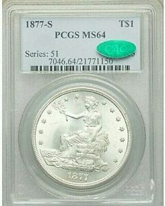 1877 S $1 TRADE SILVER DOLLAR PCGS MS 64 CAC