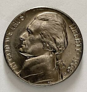 1968 S JEFFERSON NICKEL 5 CENTS UNCIRCULATED FROM MINT SET RPM ERROR COIN  2565