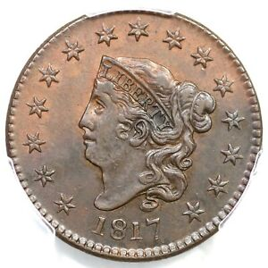 Click now to see the BUY IT NOW Price! 1817 N 16 PCGS AU 58 15 STARS MATRON OR CORONET HEAD LARGE CENT COIN 1C