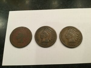 INDIAN HEAD PENNY  LOT OF 3  1879 1887 1899 US ONE CENT COINS