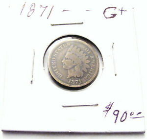 VERY NICE 1871 INDIAN HEAD CENT PENNY LOT. G . DETAIL