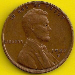 1937 S: BRN VG LINCOLN WHEAT CENT