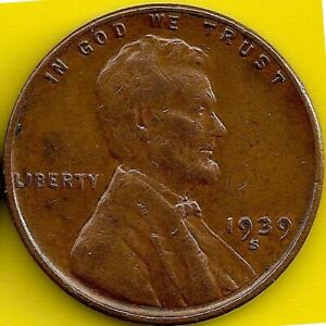 1939 S: BRN VG LINCOLN WHEAT CENT