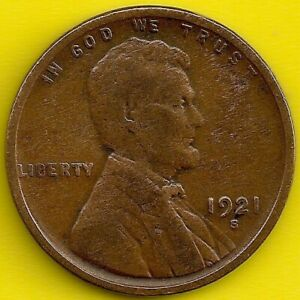 1921 S: BRN G/VG LINCOLN WHEAT CENT  / SEMI KEY 'S' DATE